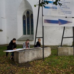Tallinn, Estonia – Arts students near Toompea castle