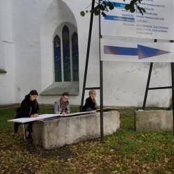Tallinn, Estonia – Arts students near Toompea castle